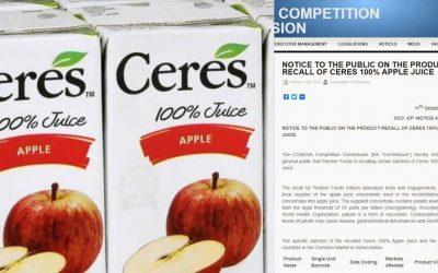 Des toxines de moisissures trouvées dans le jus de CERES vendu à Maurice et dans 6 autres pays…